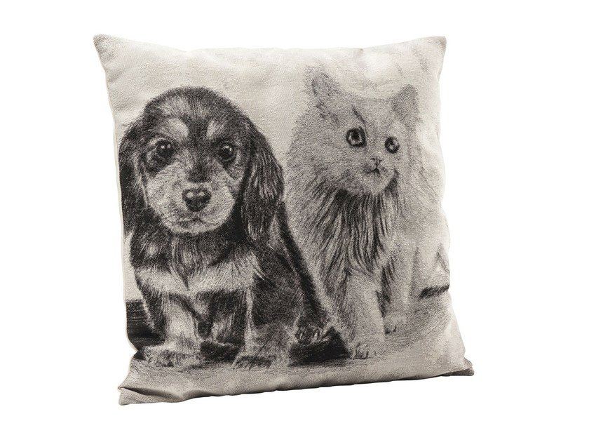 Square fabric cushion LITTLE CAT AND DOG by KARE-DESIGN