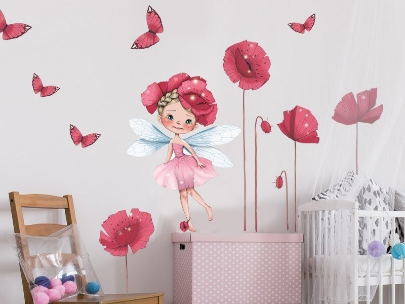 Kids wall sticker with floral pattern LITTLE FAIRY by ACTE-DECO