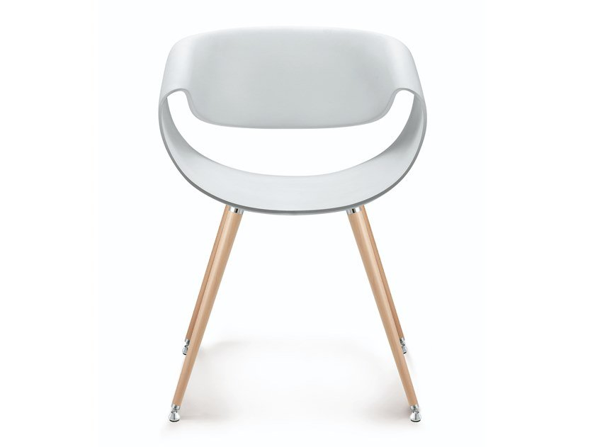 Plastic chair and beech legs with armrests LITTLE PERILLO | Chair by ZÜCO