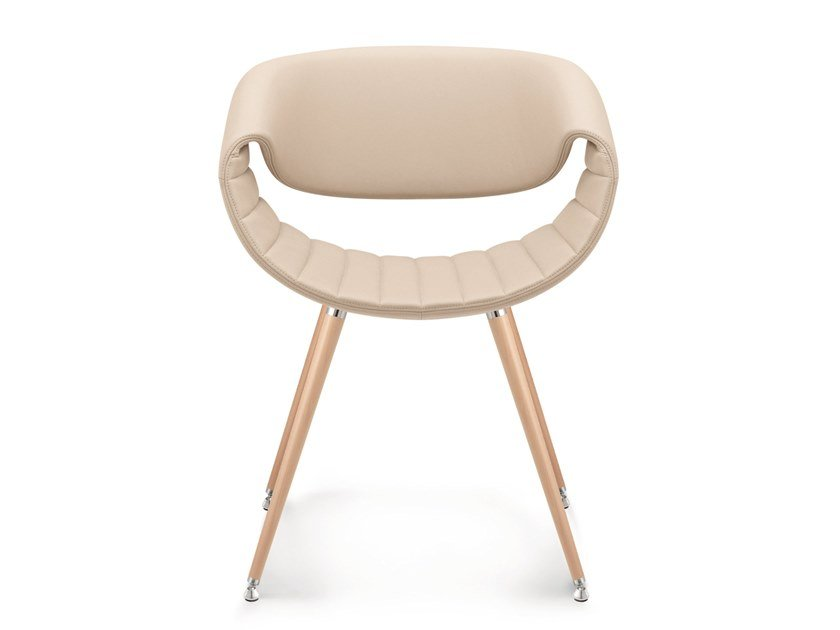 Upholstered chair in leather and beech legs LITTLE PERILLO | Leather chair by ZÜCO