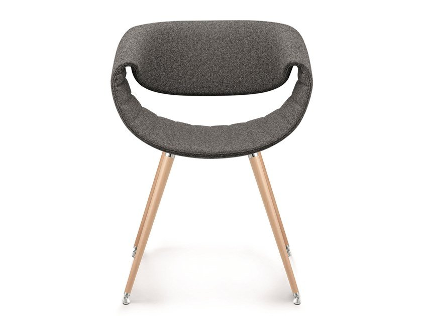 Upholstered fabric chair and beech legs LITTLE PERILLO | Open back chair by ZÜCO