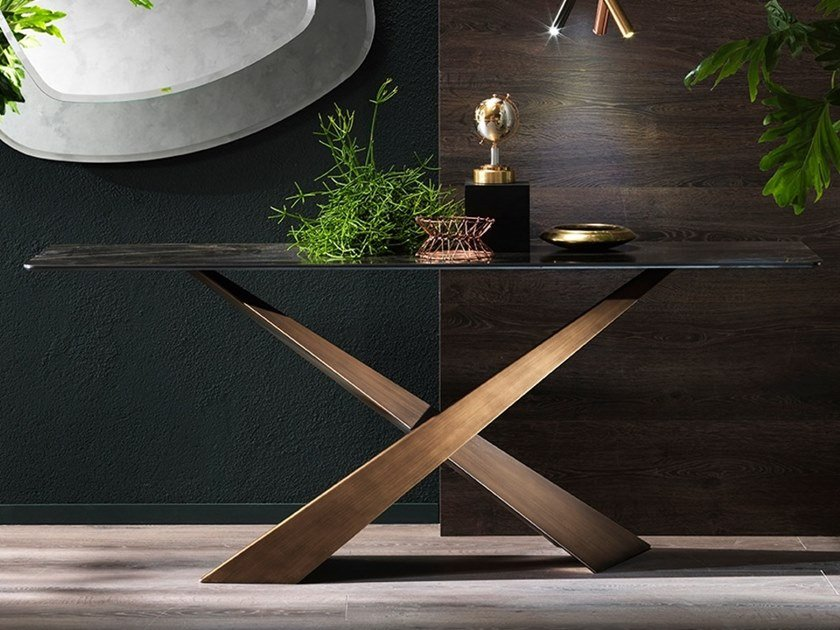 Rectangular ceramic console table LIVING | Ceramic console table by RIFLESSI