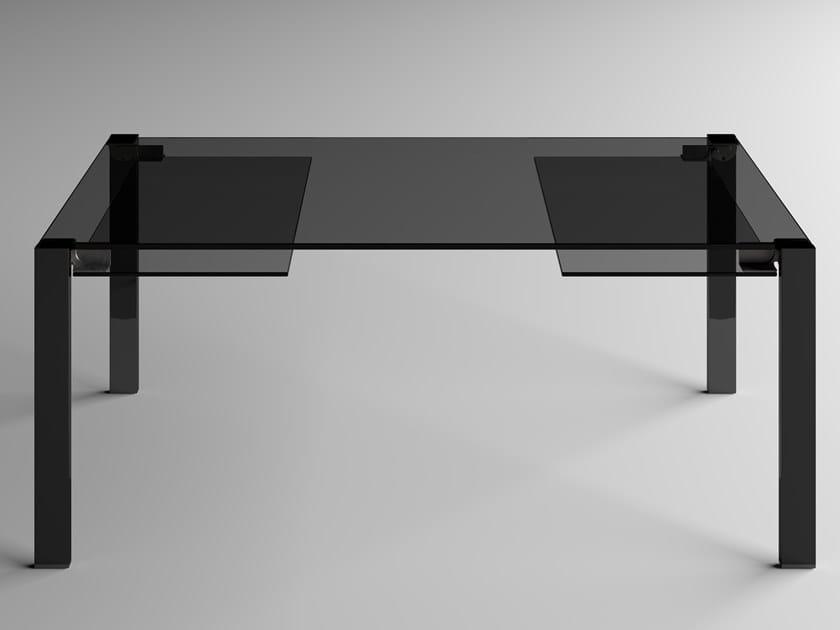 Extending rectangular glass table LIVINGSTONE DARK by Tonelli Design