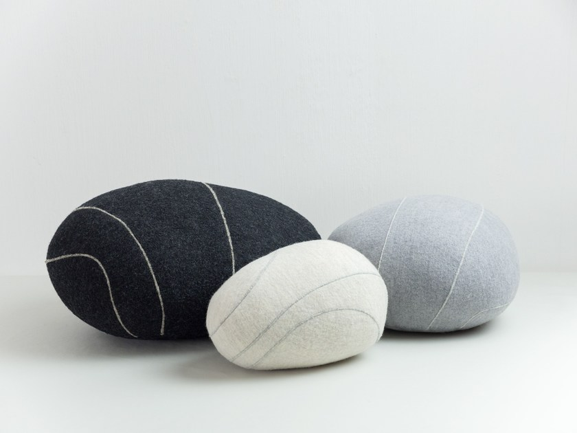 Upholstered wool pouf LIVINGSTONES by smarin