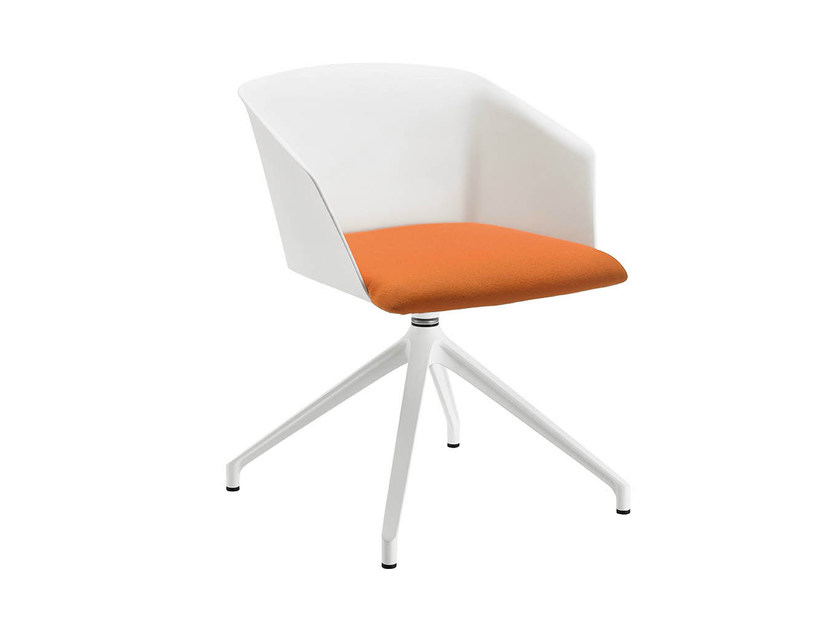 Swivel trestle-based chair with armrests LIZA 2273-2273/R by Zanotta