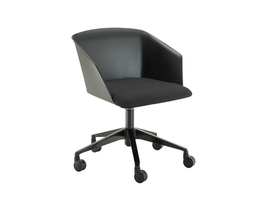 Swivel chair with 5-spoke base with casters LIZA 2274-2274/R by Zanotta