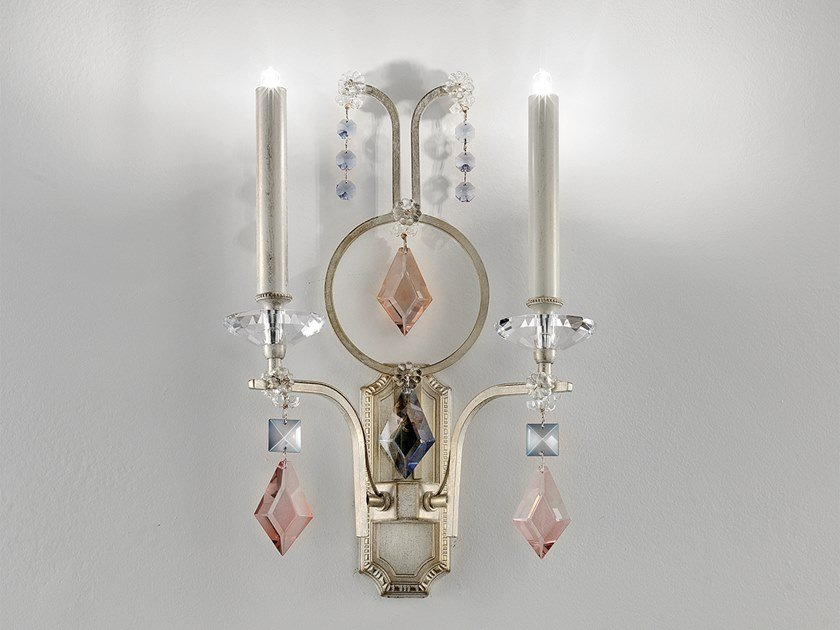 Lampada da parete a luce diretta alogena in cristallo in stile classico LIZZI A2 by Masiero