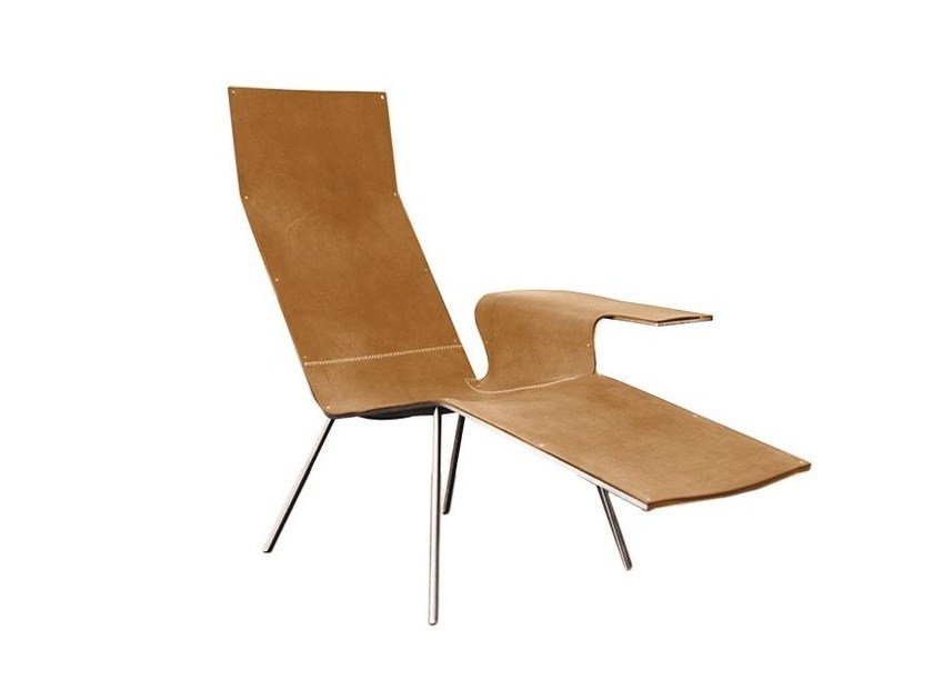 Tanned leather lounge chair LL04 by DE PADOVA