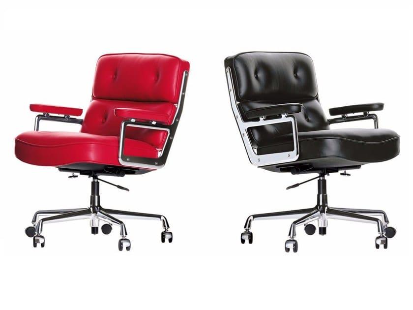 Cadeira executiva ajustável em altura de pele de 5 raios com braços LOBBY CHAIR ES 104 by Vitra