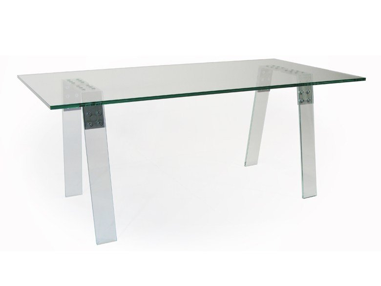 Rectangular glass and steel table LOCAL 4P TREE by ZinX