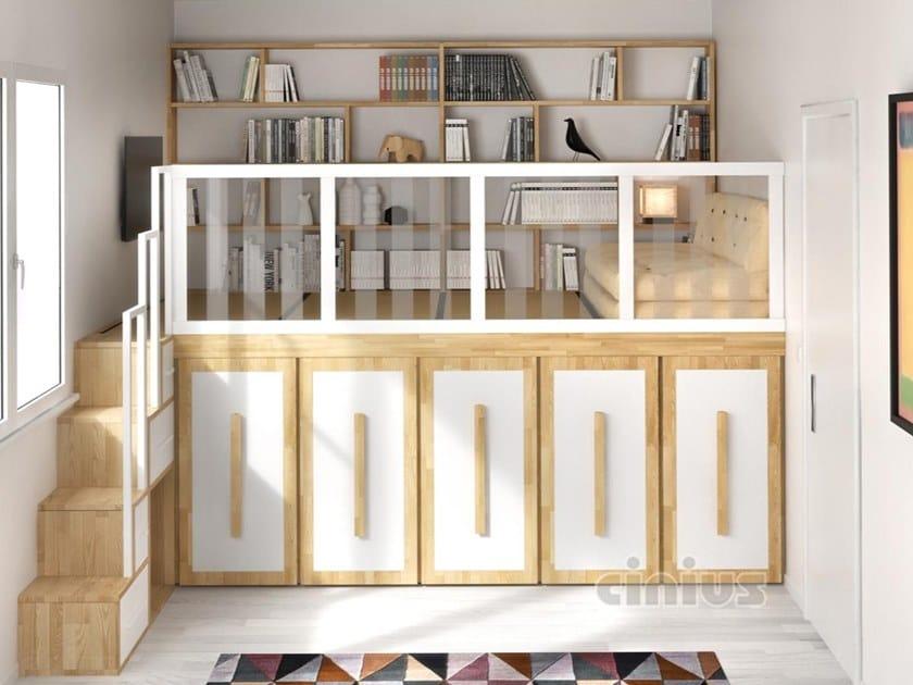 Soppalco in legno massello con armadio PEDANA SOPPALCO ARMADIO by Cinius