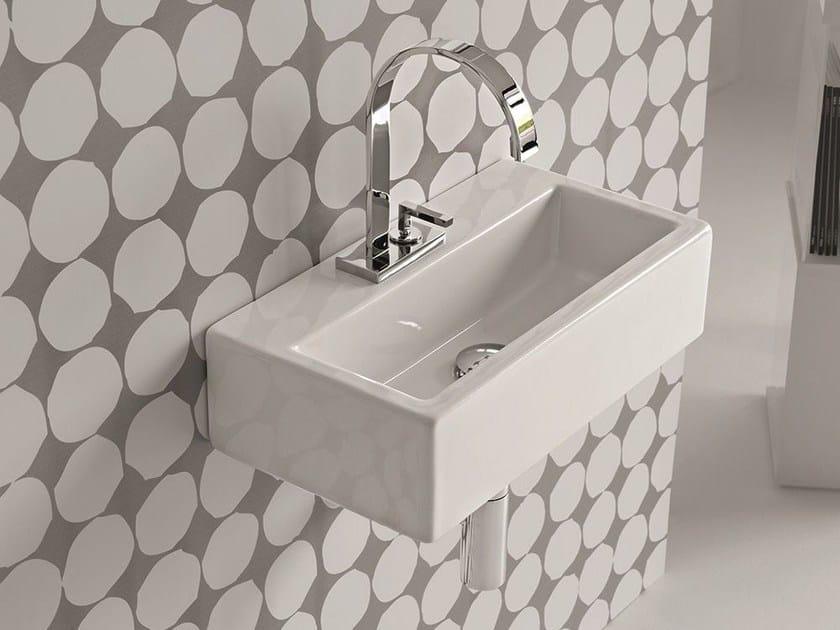 Rectangular wall-mounted ceramic washbasin LOFT   Single washbasin by Hidra Ceramica