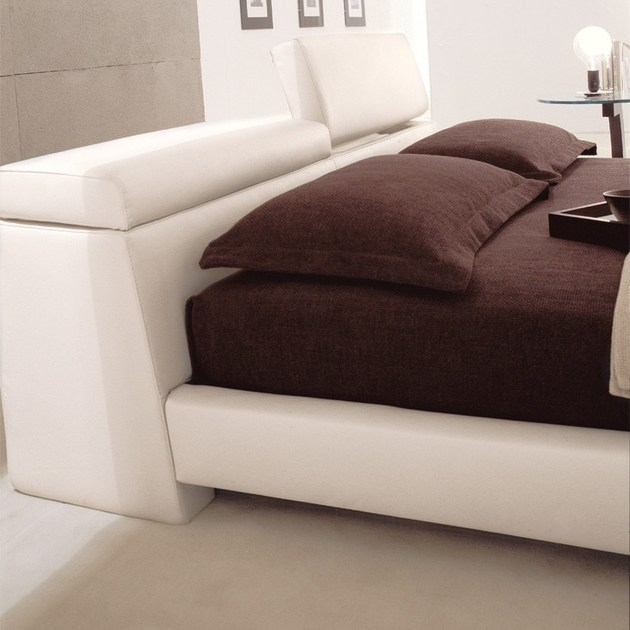 Upholstered Double Bed With Storage Headboard LOGAN By Cattelan Italia  Design Emilio Nanni