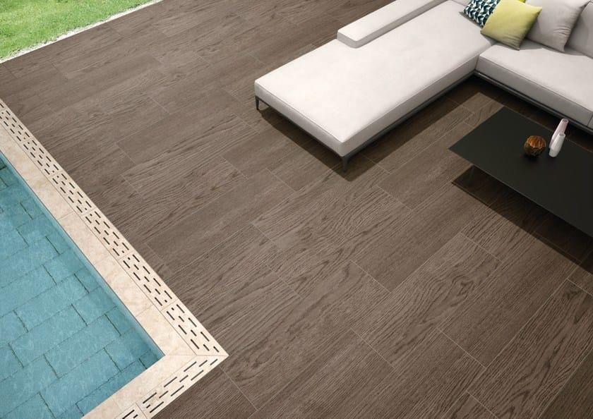 Pavimento per esterni in gres porcellanato effetto legno logos