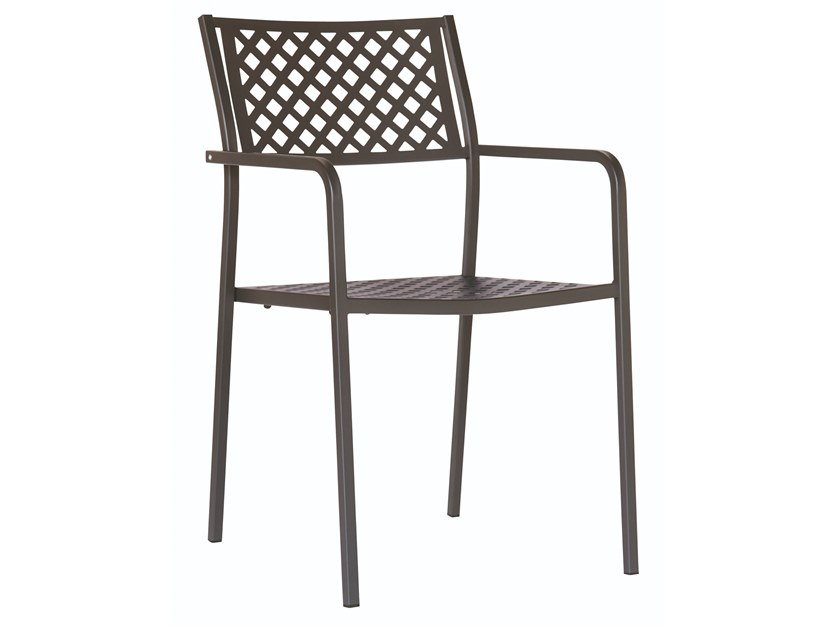 Stackable galvanized steel chair with armrests LOLA 2 by RD Italia