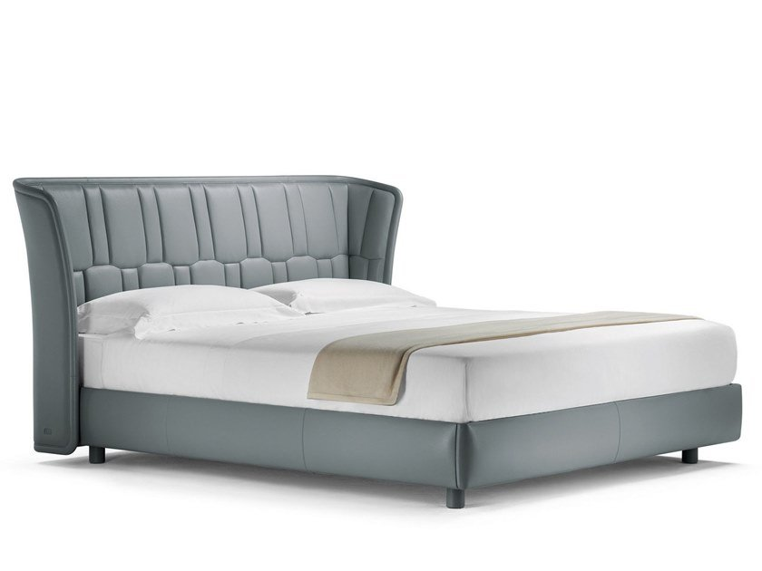 Leather double bed with upholstered headboard LOLA DARLING by Poltrona Frau