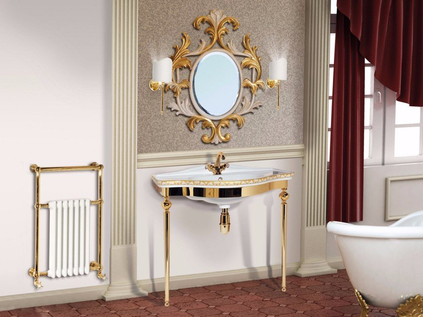 Brass console sink with mirror LONDRA CM03CS by LA BUSSOLA
