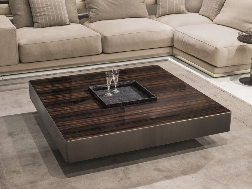 Square wooden coffee table with tray for living room LONELY by Longhi