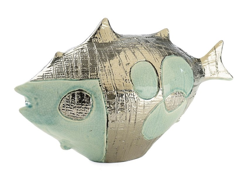 Ceramic sculpture LONG FISH POP by MARIONI