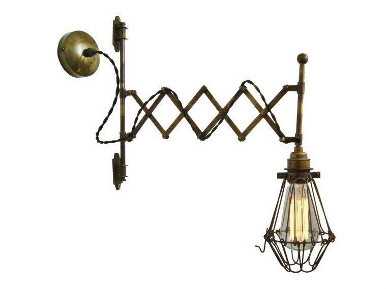 Handmade adjustable brass wall lamp LONN SCISSOR CAGE WALL LIGHT by Mullan Lighting