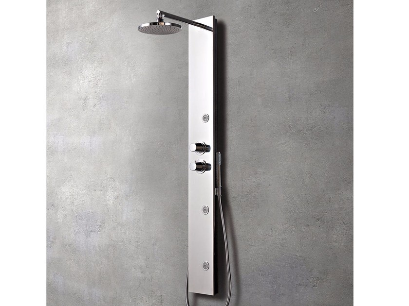 Contemporary style wall-mounted stainless steel shower panel with diverter with hand shower LOOK by Glass1989