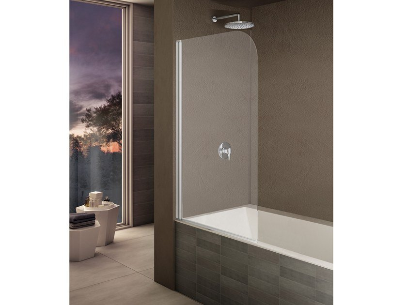 Tempered glass bathtub wall panel LOOK LK-1 By Provex Industrie