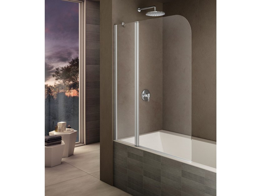 Folding tempered glass bathtub wall panel LOOK LK-2 by Provex Industrie