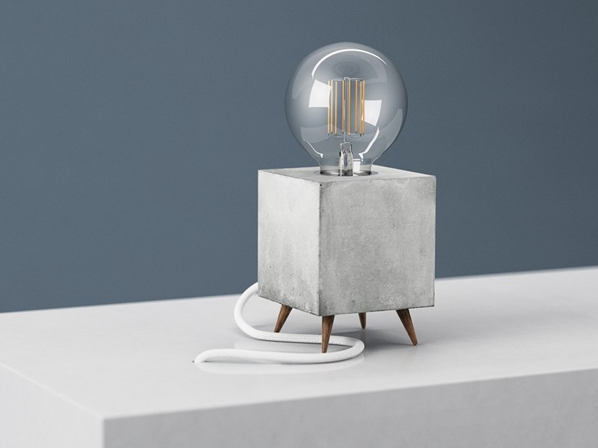 Handmade Concrete Table Lamp LOOMACUBE C1   WALNUT By LOOMA