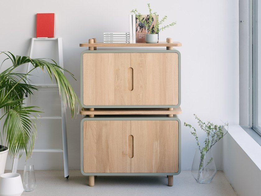 Wooden highboard with doors LOOP 88 by ST FURNITURE