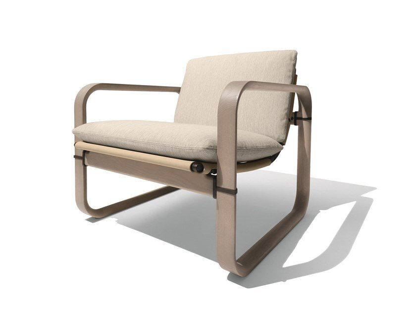 Contemporary style garden upholstered ash easy chair with armrests LOOP | Easy chair by GIORGETTI