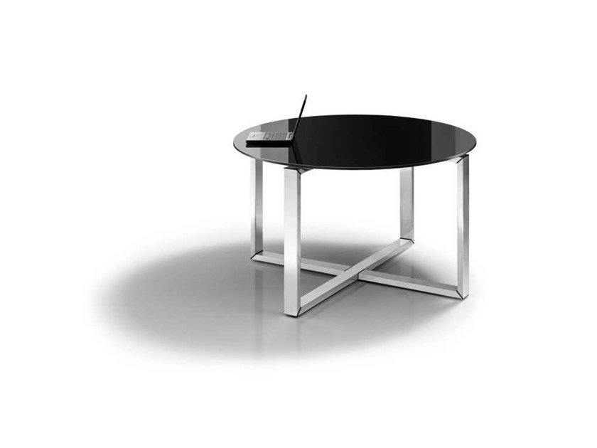 Round tempered glass meeting table LOOPY | Tempered glass meeting table by Bralco