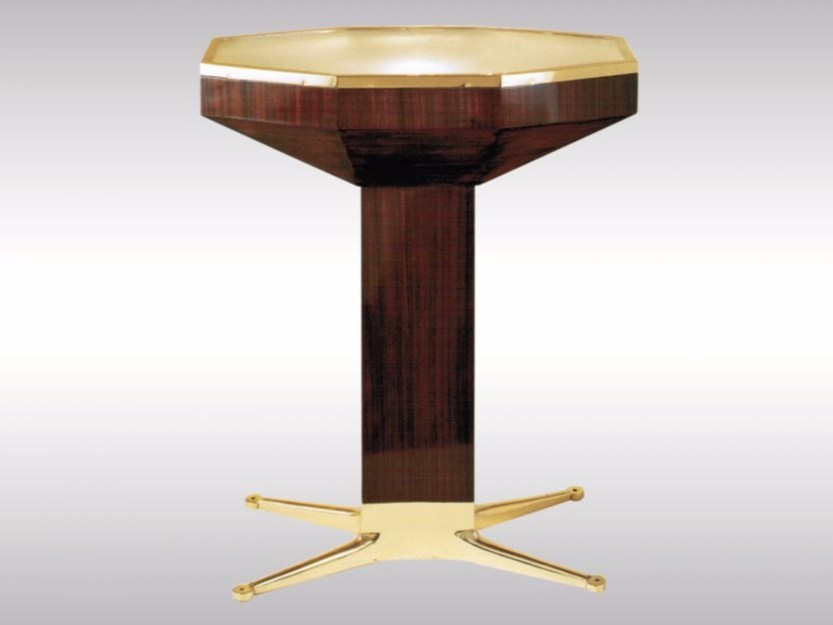 Brass, glass and wood table LOOS AMERICAN BAR by Woka Lamps Vienna