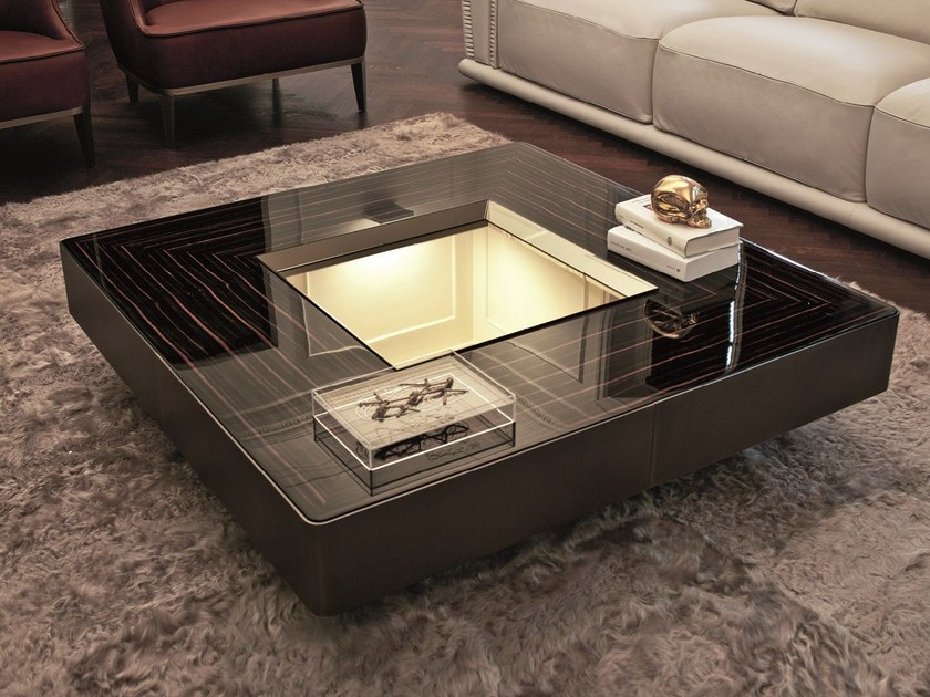 Square coffee table with tray LORD by Longhi