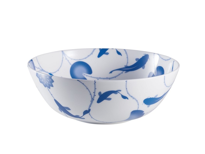 Porcelain salad bowl LOTUS AND FISH | Salad bowl by ZENS Lifestyle