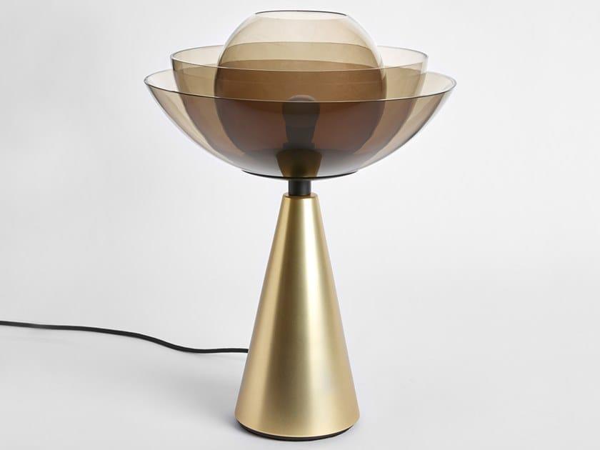 Lampada da tavolo in ferro e vetro LOTUS METAL by Mason Editions