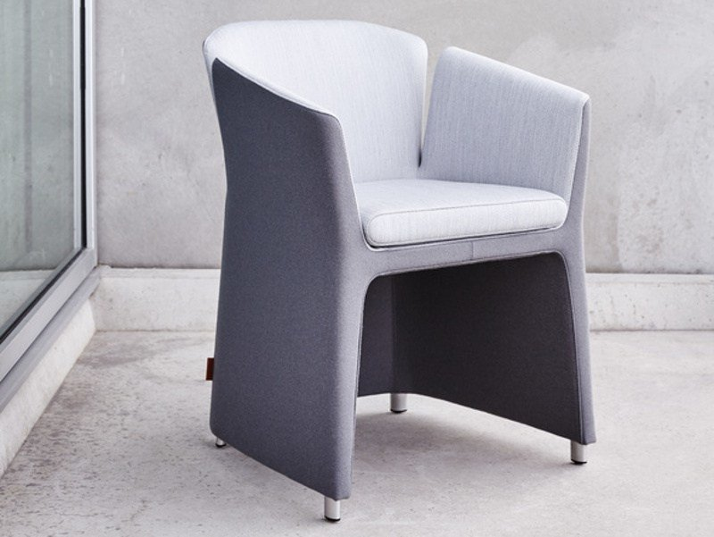 Upholstered fabric chair with armrests LOTUS by Montis