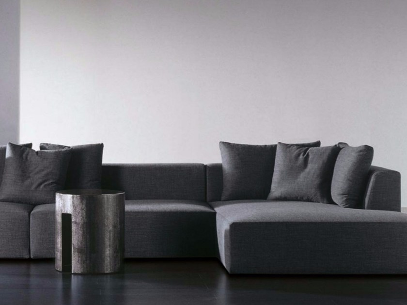 Sectional sofa with removable cover LOUIS FIT by Meridiani