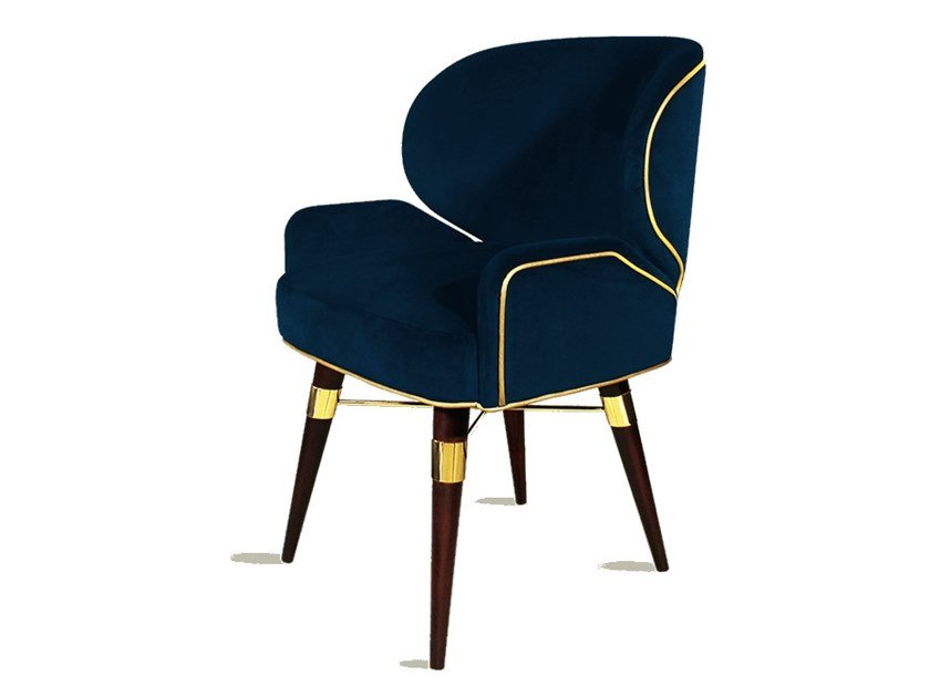 Upholstered velvet chair with armrests LOUIS I | Chair with armrests by Ottiu