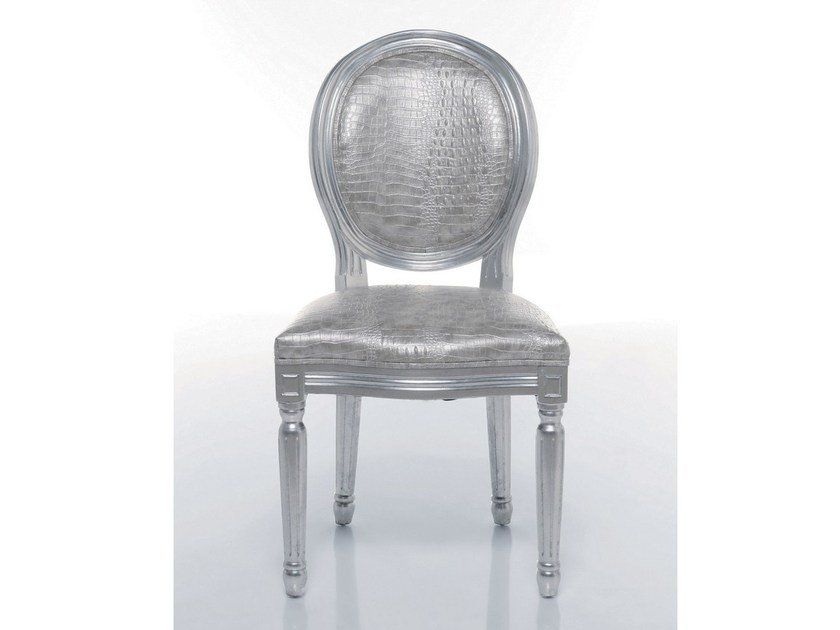 Medallion upholstered fabric chair LOUIS SILVER CROCO by KARE-DESIGN