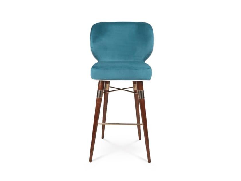 Upholstered velvet barstool with back LOUIS | Stool with back by Ottiu