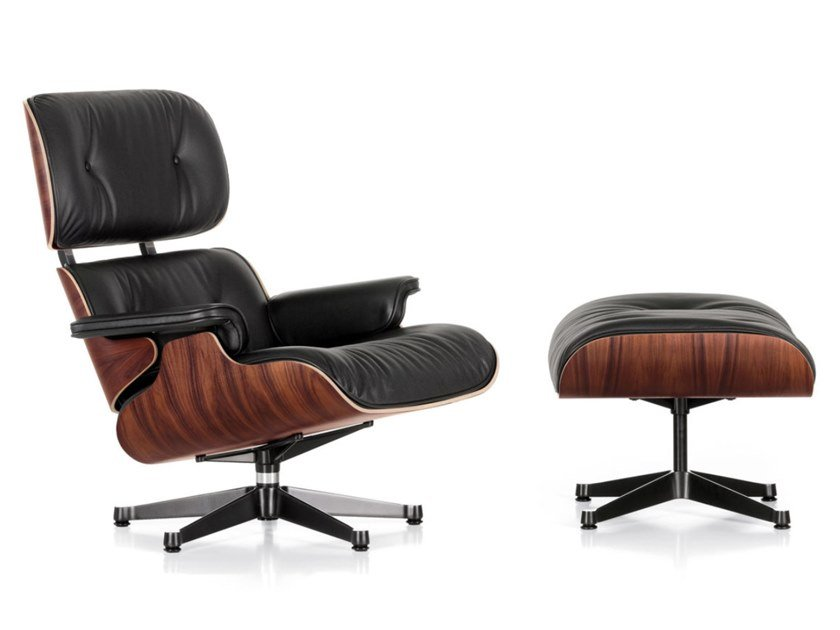 Swivel leather armchair with 5-spoke base with armrests LOUNGE CHAIR by Vitra
