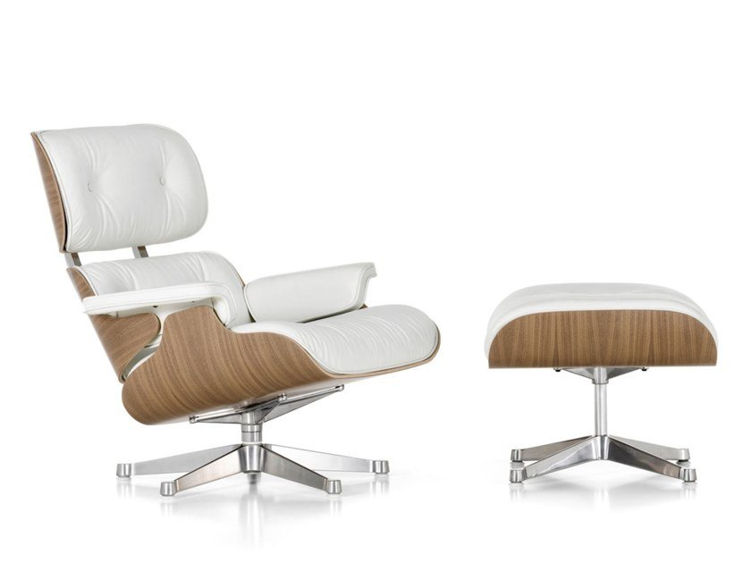 Swivel leather armchair with 5-spoke base with armrests LOUNGE CHAIR WHITE VERSION by Vitra