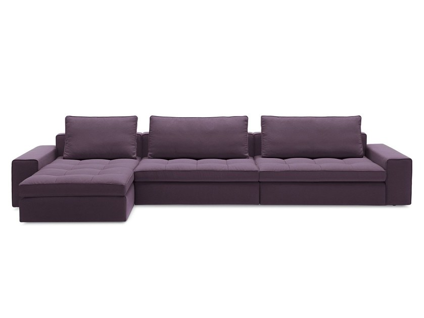 Fabric sofa with chaise longue LOUNGE by Calligaris