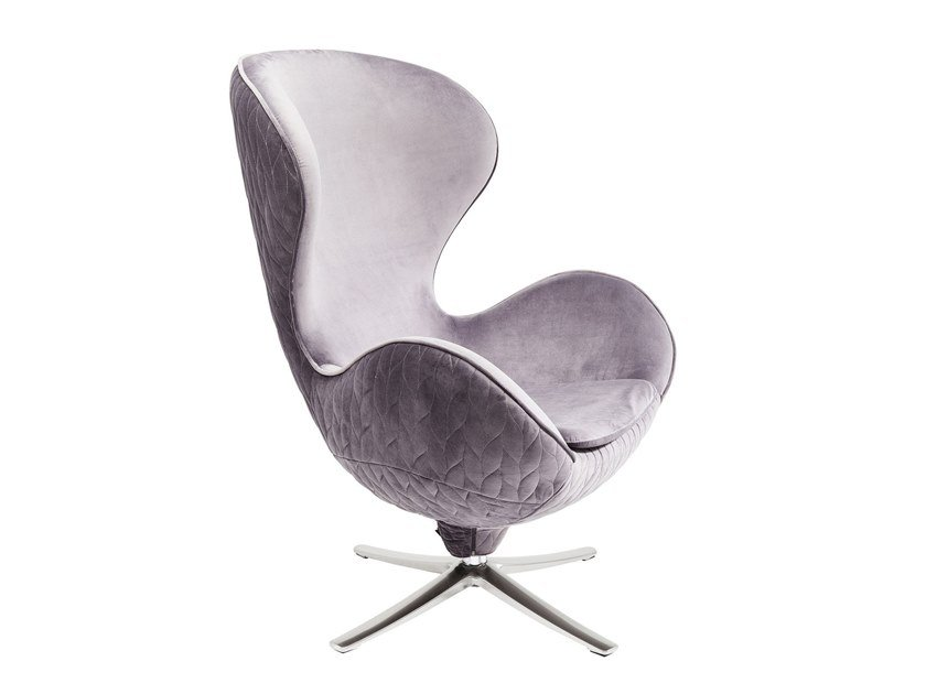 Swivel fabric armchair with 4-spoke base LOUNGE LEAF | Swivel armchair by KARE-DESIGN