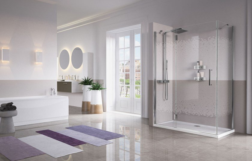 Contemporary style 2 places niche corner crystal shower cabin LOUVRE by NOVELLINI