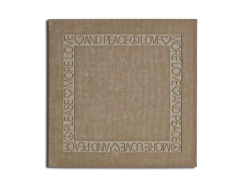 Handmade square custom wool rug LOVE AND PEACE by OT Oliver Treutlein