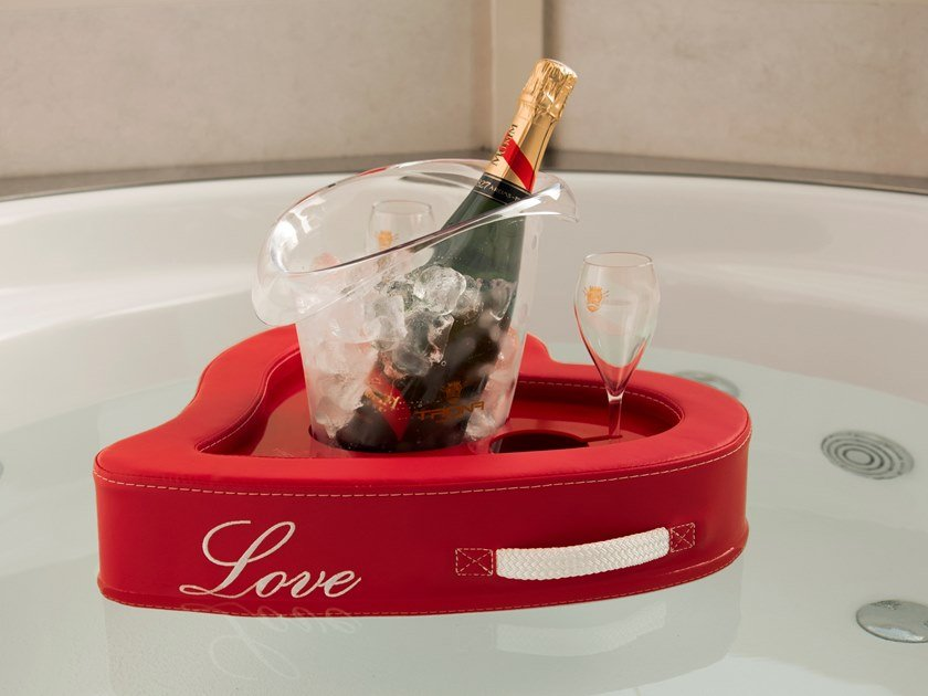 Eco-leather floating tray LOVE BAR by Trona