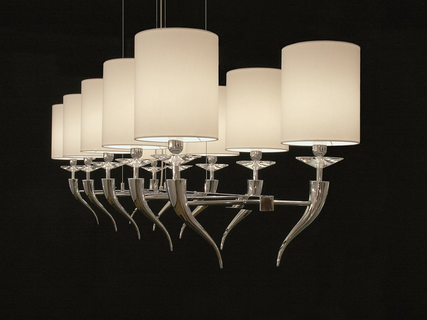 Direct-indirect light metal pendant lamp with crystals LOVING ARMS H10 by ILFARI
