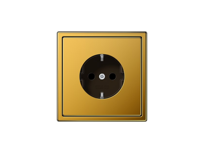 Metal electrical outlet with gold plating LS 990   Gold leaf electrical outlet by JUNG