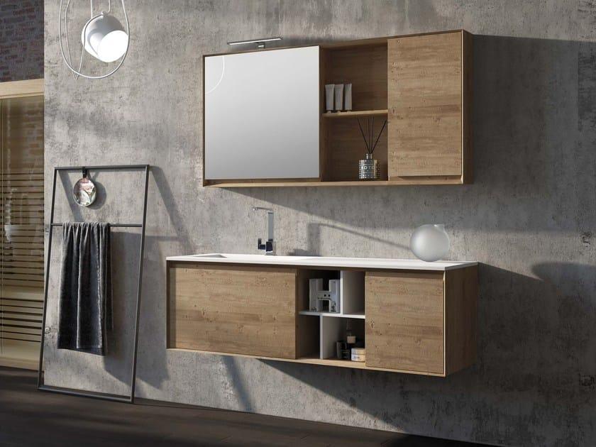 Solid wood vanity unit LU.31 by Mobiltesino